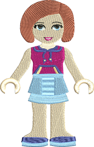 Sienna-Sienna, machine embroidery, lego,friends
