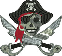 Skull Pirate-machine embroidery, Pirates, Skull, Halloween, Horror, Scary