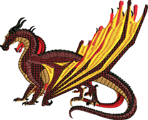 Sky wing dragon-Dragons, machine embroidery, dragon wings