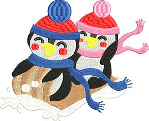 Sledding penquins-Penguins, sleds, sledding, snow, machine embroidery