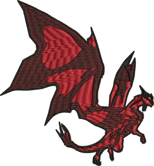 Shaug dragon-Shaug, dragon, dragons, machine embroidery, dragon embroidery