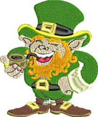 Smokin Leprechaun-Leprechaun, St. Patricks Day, Irish, Ireland, Holiday embroidery, Irish embroidery,machine embroidery