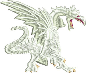 Snow dragon-Dragon, Snow dragon, white dragon, dragons, machine embroidery, dragon embroidery