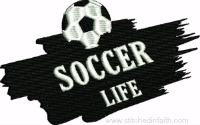 Soccer Life-Soccer embroidery, sports embroidery, machine embroidery, Soccer emblem, soccer patch, embroidery