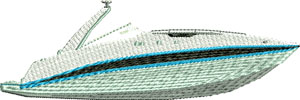 Speed Boating-Speed boat, boating embroidery, machine embroidery, speed boat embroidery,