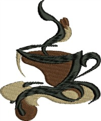 Steaming cup of coffee-COFFEE COFFEE EMBROIDERY CUP OF COFFEE EMBROIDERY MACHINE EMBROIDERY CUP EMBROIDERY STITCHEDINFAITH.COM