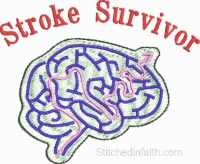 Stroke Survivor-Stroke embroidery, Stroke Awareness Ribbon, Stroke survivor, machine embroidery Stroke Survivor embroidery, stitchedinfaith.com