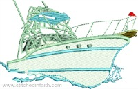 Summer Crusing boat-Boat, summer boat, machine embroidery, nautical embroidery, speed boats, embroidery, stitchedinfaith.com