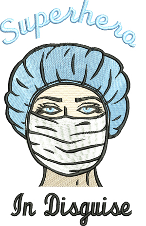 Nurse Superhero in disguise-Nurse, mask, registered nurse, operating nurse, machine embroidery