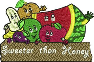 Sweeter than honey-Fruit, bananas, watermelon, plum, lime, apple, machine embroidery, basket