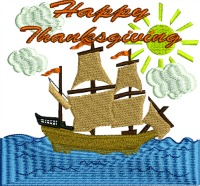 Thanksgiving Columbus Ship-Columbus, Thanksgiving, machine embroidery, Ship embroidery Columbus embroidery, holiday embroidery
