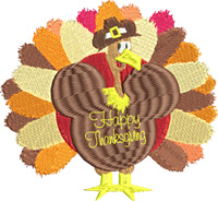 Happy Thanksgiving Turkey-Thanksgiving, Happy Thanksgiving, Turkey, Holiday embroidery, machine embroidery, Thanksgiving embroidery