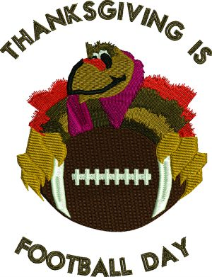 Thanksgiving Football And Turkey-Football Thanksgiving Turkey machine embroidery embroidery Holiday