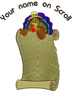 Thanksgiving Turkey Scroll-Thanksgiving machine embroideryThanksgiving turkey turkey embroidery