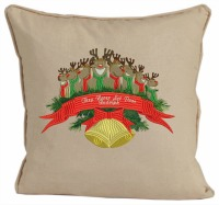 They never let Rudlolph embroidered pillow-embroidered pillows Rudolph pillow reindeer pillows pillows Christmas pillows stitchedinfaith.com