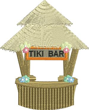 Tiki Bar-Tiki, Bar, Summer, Drinks, Machine embroidery