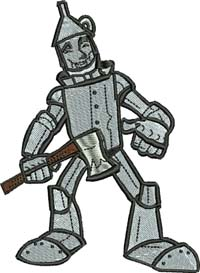 Tin man-Tin man, tin man embroidery, machine embroidery, wizard of oz embroidery