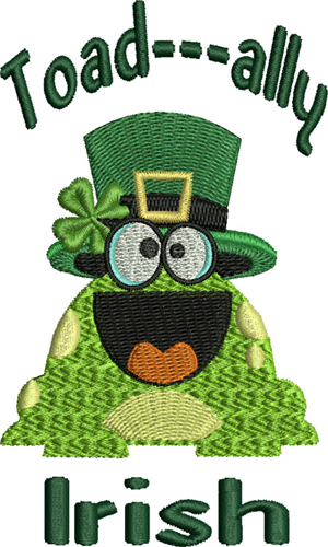 Toad ally Irish-Irish, Toad, frog, Ireland, St Patricks Day, holiday, machine embroidery, embroidery