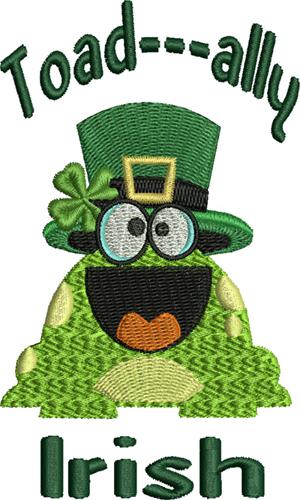 Toad ally Irish-Irish, Toad, frog, Ireland, St Patricks Day, holiday, machine embroidery, embroidery