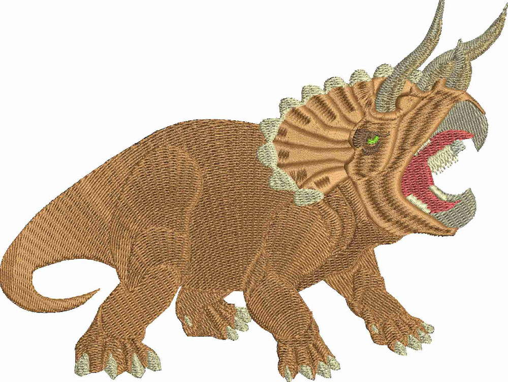 Triceratops-machine embroidery, Triceratops, dinosaurs, dinosaurs embroidery,