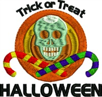 Trick or Treat skull candy-Halloween machine embroidery trick or treat skull halloween candy