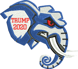 Trump elephant-Trump, elephant, 2020, President, Republican, political, machine embroidery