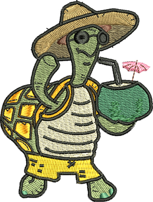 Turtle Party-Turtle, Summer, party, fun, machine embroidery, turtles,