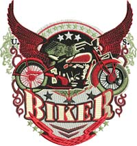 US Biker-Biker, USA, motorcycle, bikers, machine embroidery, motorcycle embroidery