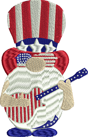 Uncle Sam gnome-Uncle Sam, gnome, machine embroidery