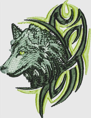 Wolf machine embroidery design