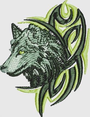 Wolf machine embroidery design