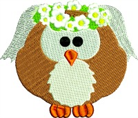 Wedding Owl-machine embroidery owls owl wedding owl wedding wedding animals animals cute embroidery