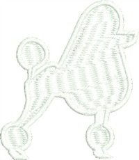 White Poodle Dog-Poodle dog machine embroidery stitchedinfaith