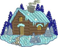 Winter Log Cabin-Log Cabin, machine embroidery, winter embroidery, Log cabin embroidery, home embroidery