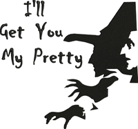 Witch my pretty-Witch, witches, my pretty, oz, wicked witch, machine embroidery