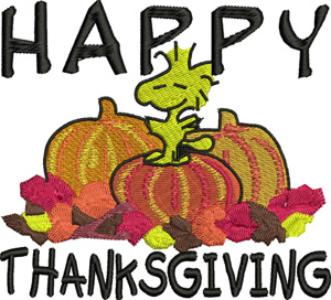 Woodstock Thanksgiving-Thanksgiving, machine embroidery, embroidery,pumpkins