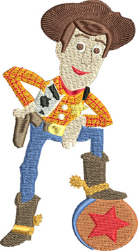 Woody-Woody, toy, machine embroidery, character,