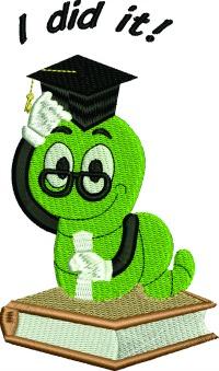 Book Worm Graduate-Book worm graduate machine embroidery graduation embroidery