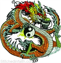 Yin Yang Dragon-Yin Yang embroidery, dragon embroidery, machine embroidery, embroidery designs, dragon, stitchedinfaith.com, fantasy embroidery, yin yang machine embroidery