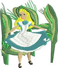 Alice in Garden-Alice machine embroidery, Alice in Wonderland embroidery, machine embroidery,