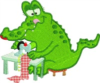 Sewing Alligator-embroidery sewing embroidery embroidery designs alligator sewing