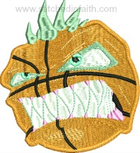 Angry Basketball-Basketball, sports, machine embroidery, sports embroidery, basketball embroidery
