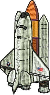 Apollo ship-Space ship, Apollo, rocket, outer space, space, machine embroidery