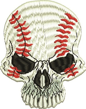 Baseball Skull-Baseball skull baseball machine embroidery