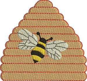 Bee And Bee Hive-bee hive machine embroidery bee insects.