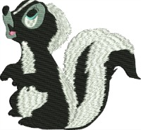Begging Skunk-Skunks, embroidered skunks, animals, machine embroidery, machine embroidery skunks, stitchedinfaith.com