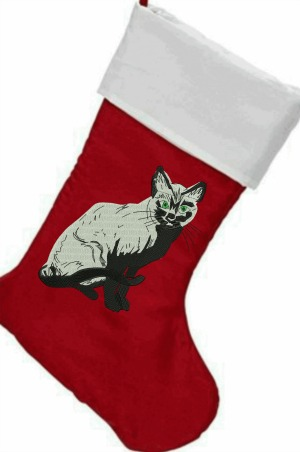 Cat Christmas Stockings.Embroidered Cat Christmas Stocking