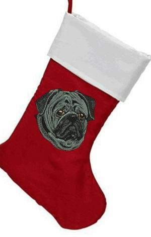 Black pug dog Christmas stocking
