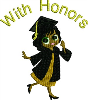 Black Female Graduate Machine Embroidery Design-GRADUATE BLACK FEMALE GRADUATE GRADUATE WITH HONORS MACHINE EMBROIDERY DESIGNS EMBROIDERY