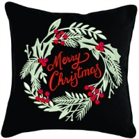 Merry Christmas embroidered wreath Pillows-embroidered pillows pillows Christmas pillows christmas gifts wreath pillow embroidered wreath holiday pillows